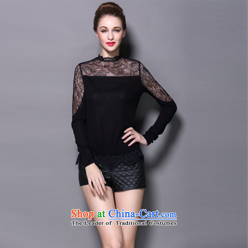 The fall of 2015 Hami Female European and American high-end heap heap for forming the lace temperament shirt Sweater Knit-to-female black?L