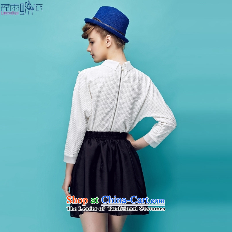 2015 Fall for women Korean fashion lapel pin-ju wild long-sleeved temperament, T-shirt�0523 Blue燬