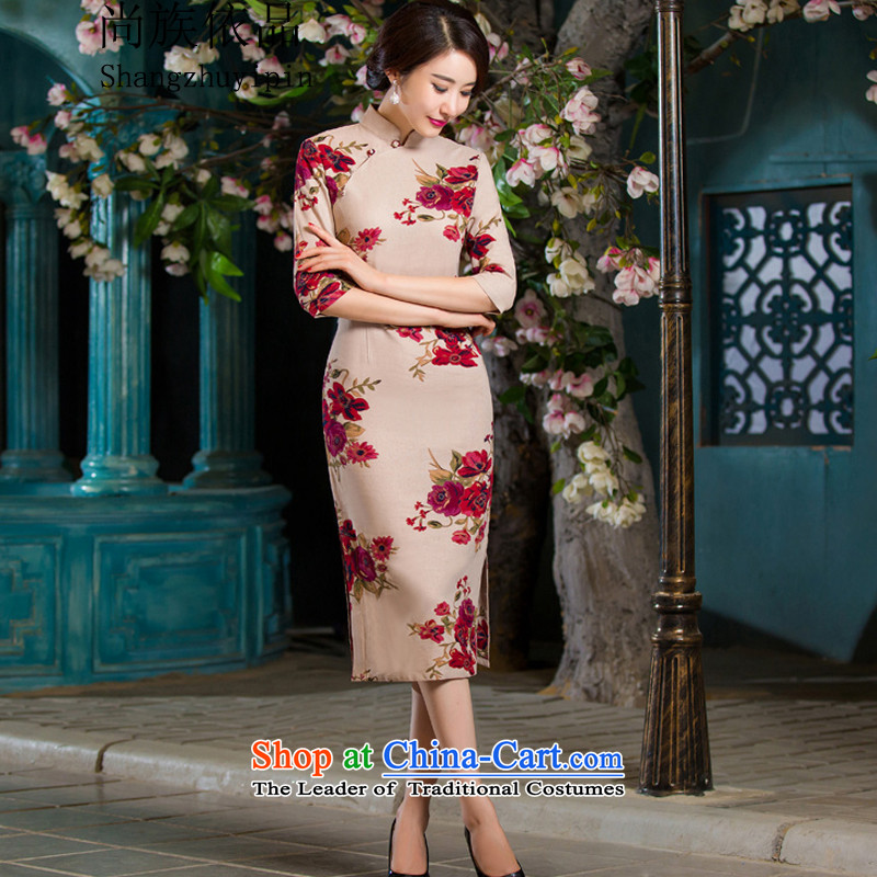 In accordance with the product 2015 ethnic still fall inside the reconstructed in the thin cuff Sau San video larger improved linen long skirt qipao garden聽XL