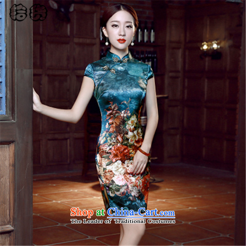 The 2015 summer, pickup qipao summer retro style cheongsam dress daily improved short of Sau San video thin Dresses Need badges of low-president's temperament blue qipao�S