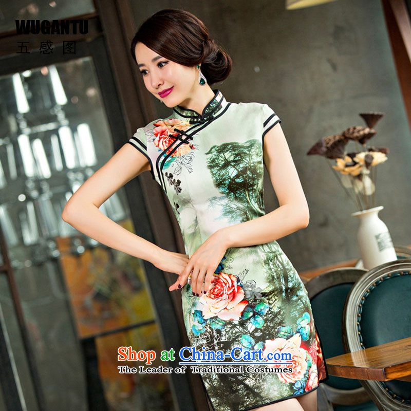 The five senses Figure of Chinese-style qipao new daily elegant Silk Cheongsam improved retro fancy dress China wind picture color M