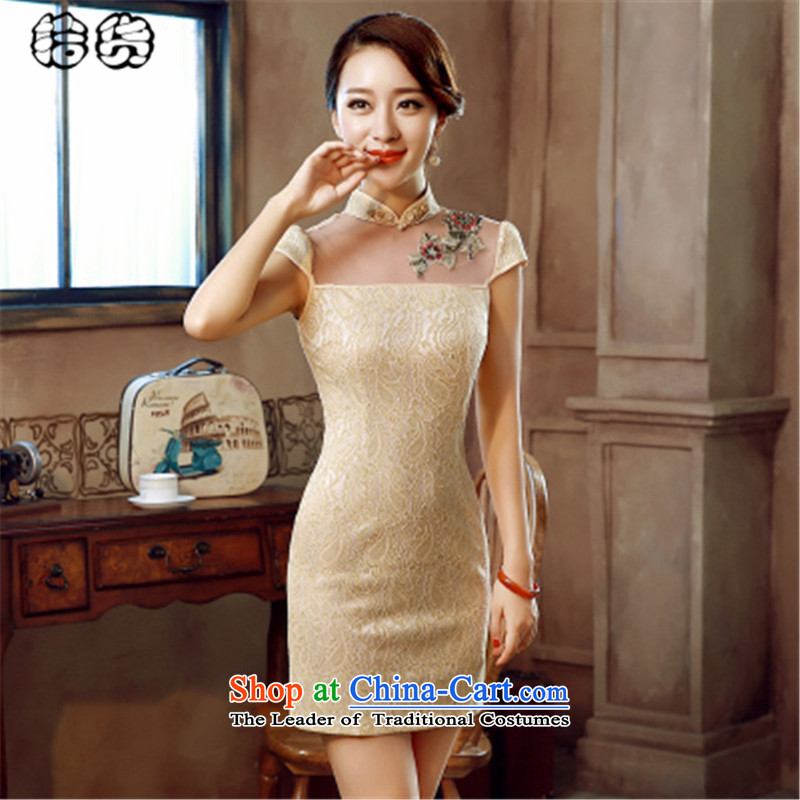 The 2015 summer pickup large stylish retro improved qipao cheongsam dress short summer day-to-day of summer dresses, elegance of the forklift truck cheongsam dress no yellow�M