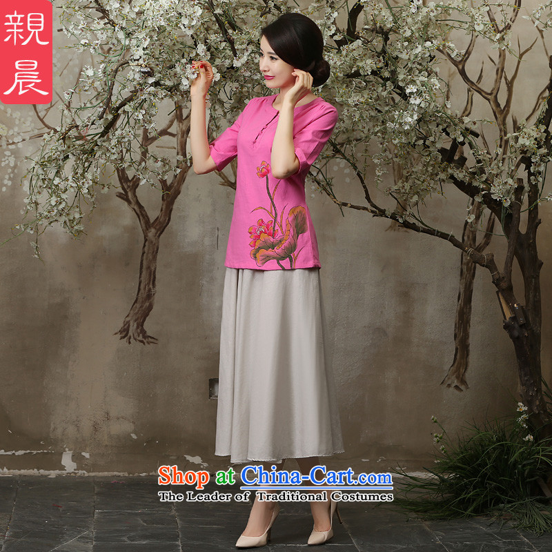 The pro-am new improved qipao shirt in summer and autumn 2015 Ms. replacing Tang dynasty daily larger cotton Linen Dress Shirt + M white dress�S