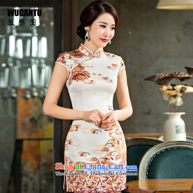 The five senses figure Amoi of daily Stylish retro totem Silk Cheongsam improved China wind ethnic picture color�S