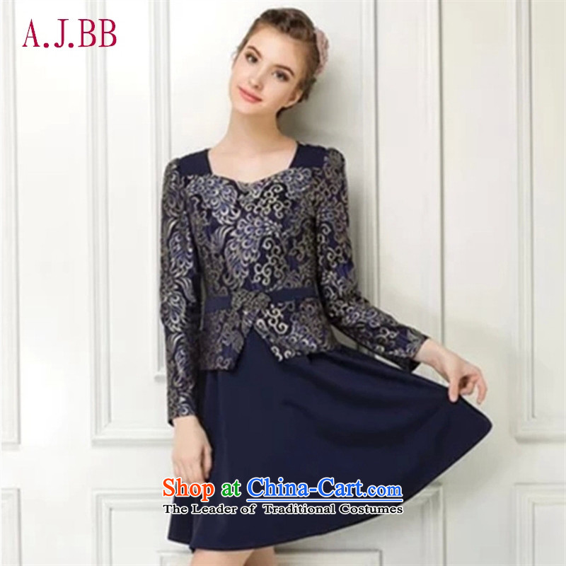 Memnarch �� Connie dress with new autumn 2015 Graphics thin foutune temperament. Older mother with long-sleeved dresses Dark Blue?M