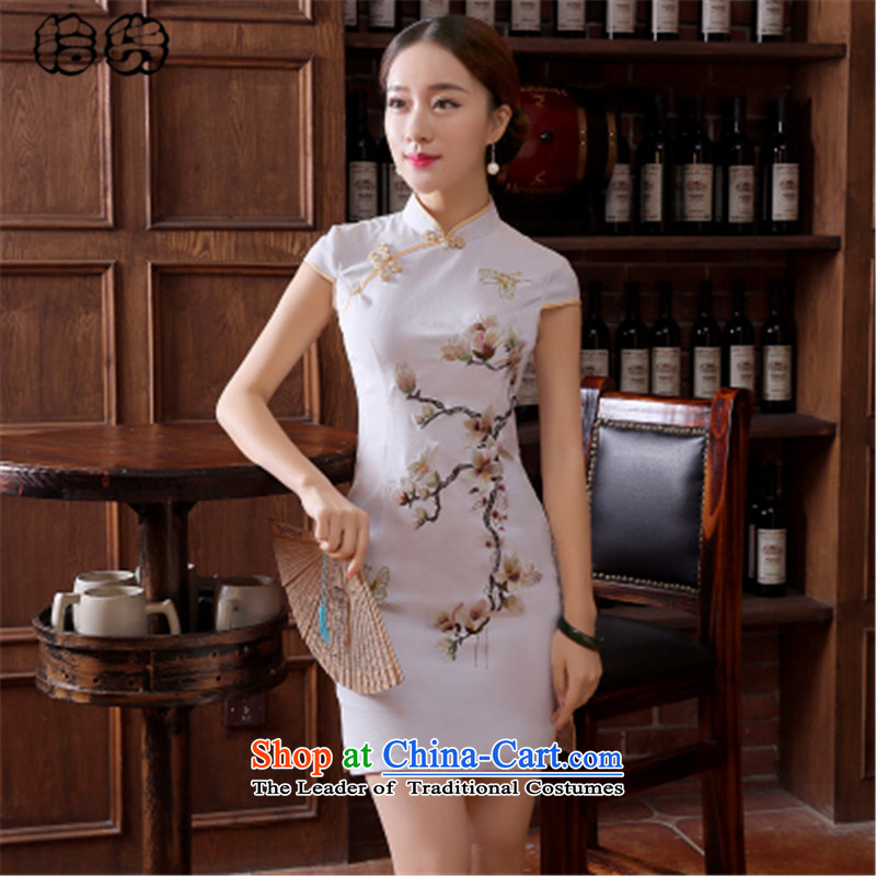 The 2015 summer pickup of daily qipao stylish graphics thin cheongsam dress Sau San Female dress of elegant reminiscent of the improvement of the day-to-day short opened's diagram qipao color�XL
