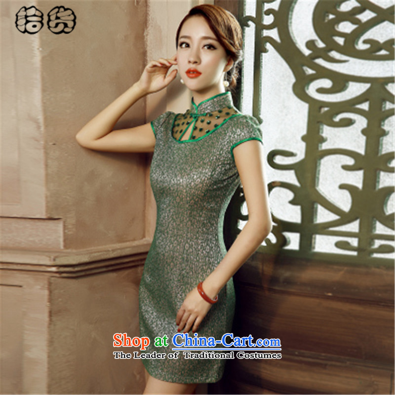 The 2015 summer pickup large stylish retro improved qipao cheongsam dress short summer day-to-day of summer dresses, elegance of the forklift truck cheongsam dress no green聽XL