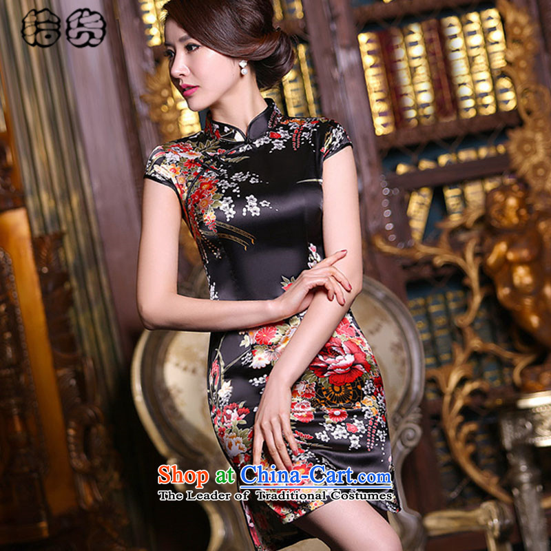 The 2015 summer, pickup classic and elegant qipao everyday dress retro style short of improved Sau San silk cheongsam dress low emulation on the need to come to grips qipao women's black safflower�XXL