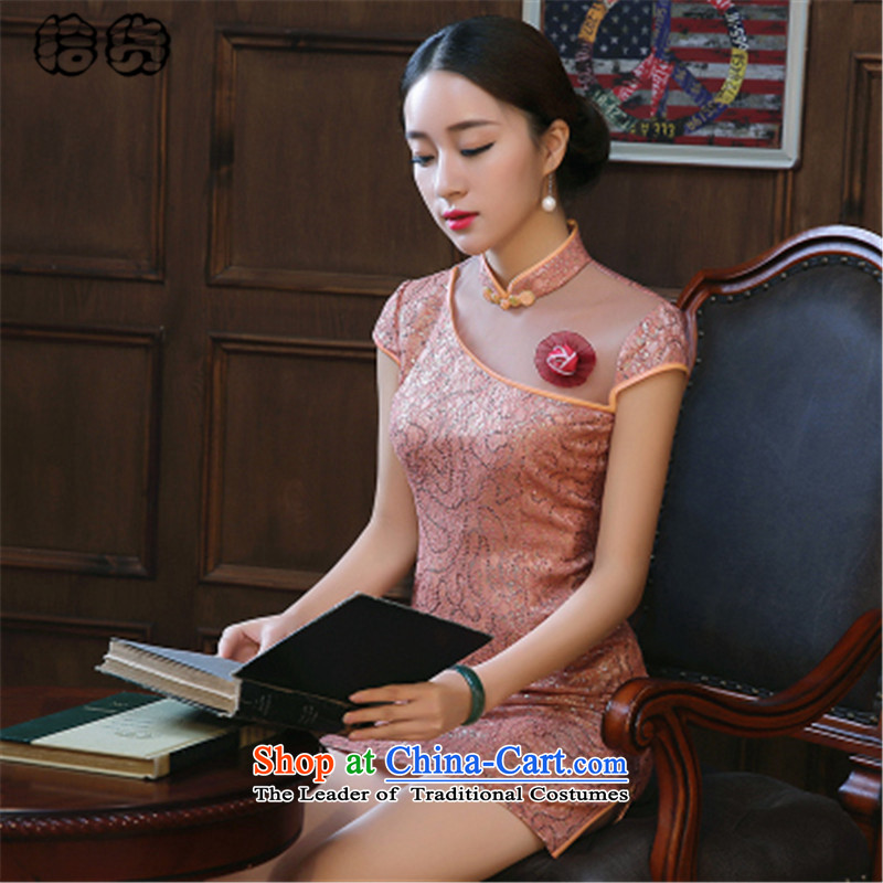 The 2015 summer, pickup cheongsam dress summer stylish improvement of daily short retro Sau San lace opened's summer short cheongsam dress female warm pink聽L