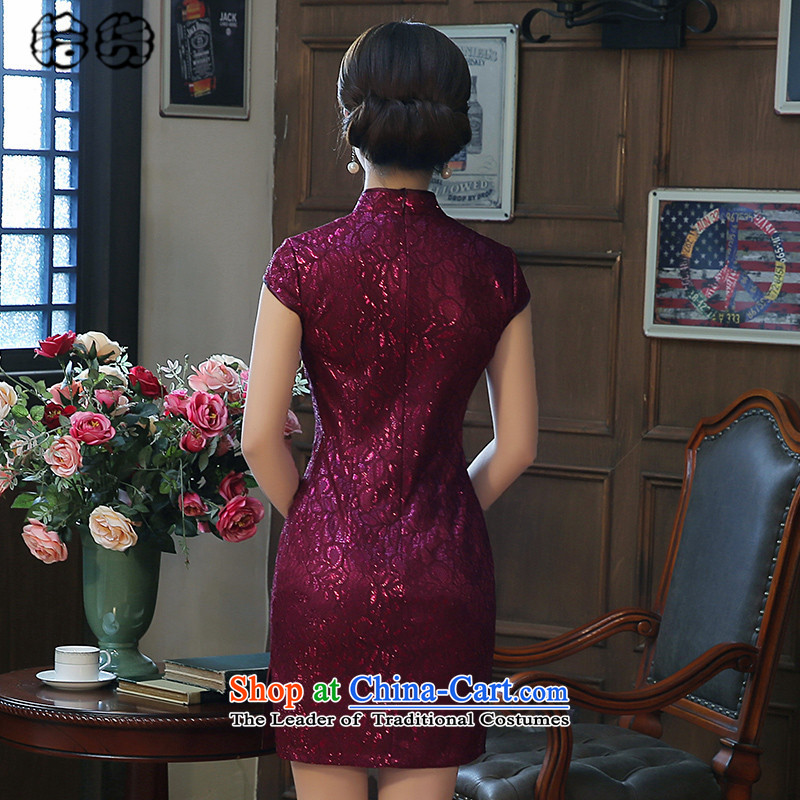 The 2015 summer, pickup cheongsam dress summer stylish improvement of daily short retro Sau San lace opened's summer short cheongsam dress warm pink L, female pickup (shihuo) , , , shopping on the Internet