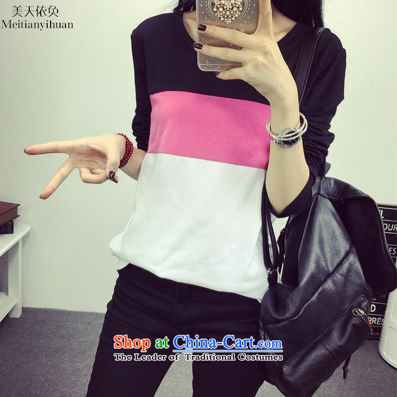 Load the new Korean autumn edition stylish candy-stripe loose large long-sleeved T-shirt, forming the Women Yellow?M