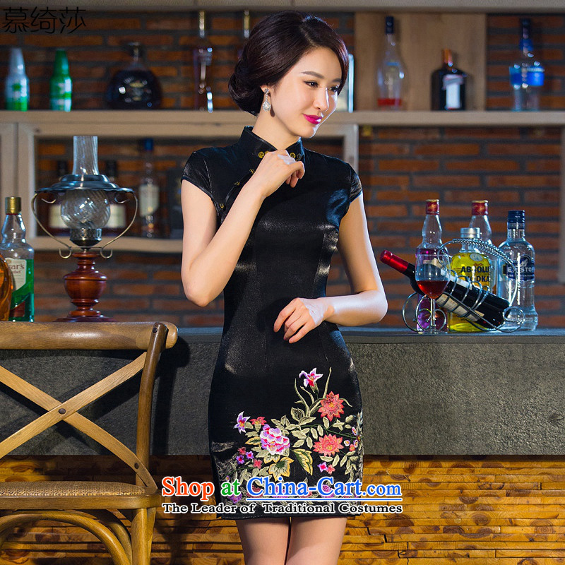 The cheer her So Kam temperament cheongsam dress autumn new boxed embroidery retro improved cheongsam dress cheongsam dress black?S daily
