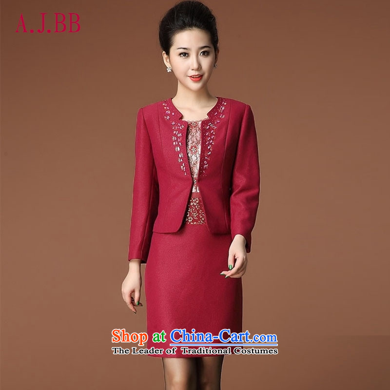Memnarch ? Connie dress autumn 2015 new_ Older MOM pack wedding wedding replace short-sleeved two kits dresses Red�L