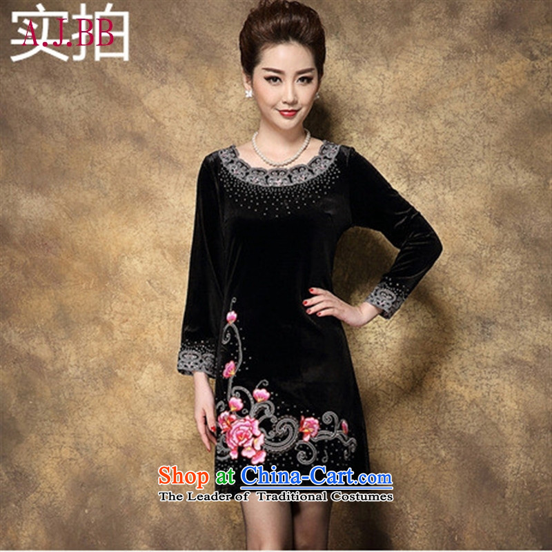 Memnarch ? Connie dress autumn 2015 new temperament wedding ceremony older wedding thick MOM pack embroidery Kim black velvet�XXXL