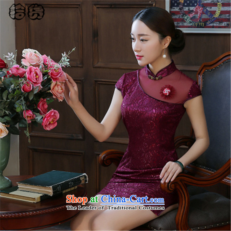 The 2015 summer, pickup cheongsam dress summer stylish improvement of daily short retro Sau San lace opened's summer short cheongsam dress female dark violet聽L