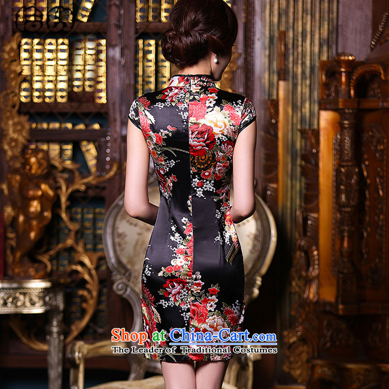 The 2015 summer, pickup classic and elegant qipao everyday dress retro style short of improved Sau San silk cheongsam dress low emulation on the need to come to grips qipao women's black red , L, pickup (shihuo) , , , shopping on the Internet