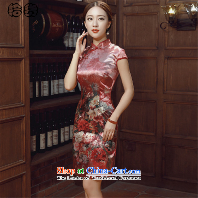 The 2015 summer, pickup qipao summer retro style cheongsam dress daily improved short of Sau San video thin Dresses Need badges of low-president's temperament cheongsam red聽XXL