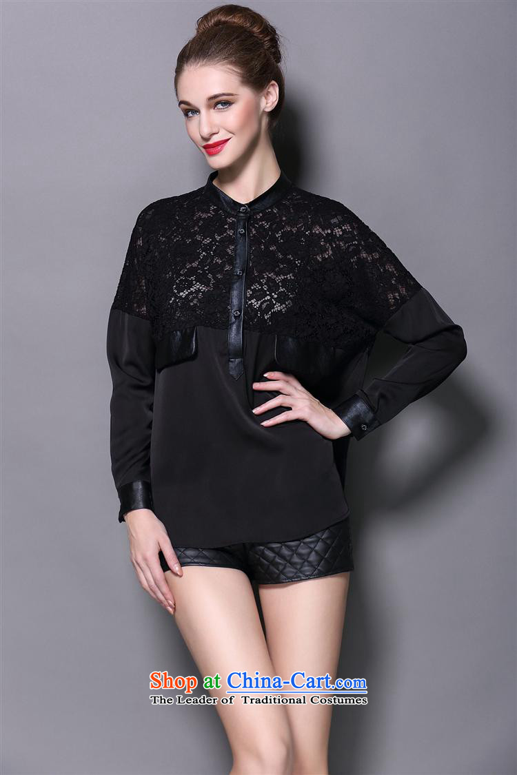 The main European and American women fall inside lace forming the shirt, wild long-sleeved T-shirt leather stitching loose large black T-shirt L picture, prices, brand platters! The elections are supplied in the national character of distribution, so action, buy now enjoy more preferential! As soon as possible.