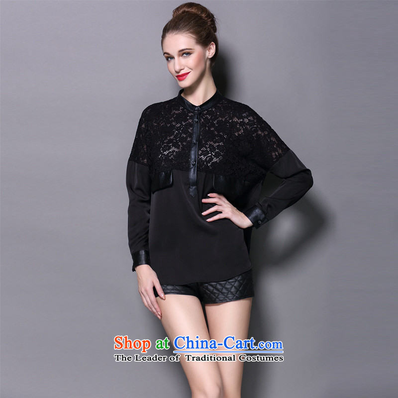 The main European and American women fall inside lace forming the shirt, wild long-sleeved T-shirt leather stitching loose large black T-shirt�L