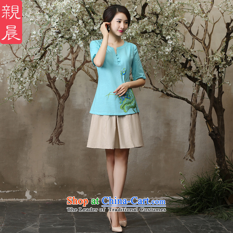 The pro-am New Clothes Summer qipao 2015 Ms. daily retro improved cotton linen cheongsam dress Tang blouses + M white short skirt燣