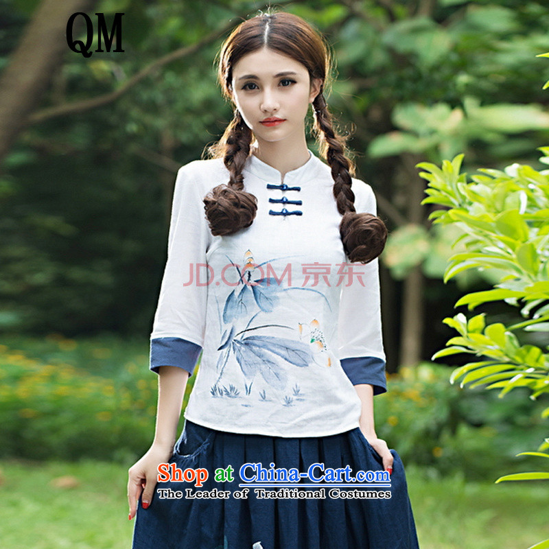 At the end of the autumn light women with ethnic stamp disc detained collar 7-sleeved T-shirt female republic of korea wind load聽HFH643聽White聽M Tang