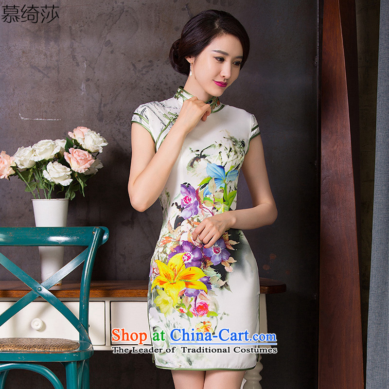 The cross-sa Heung Ying 2015 Summer cheongsam dress stylish new retro silk cheongsam dress improved daily cheongsam dress Q 250 white L