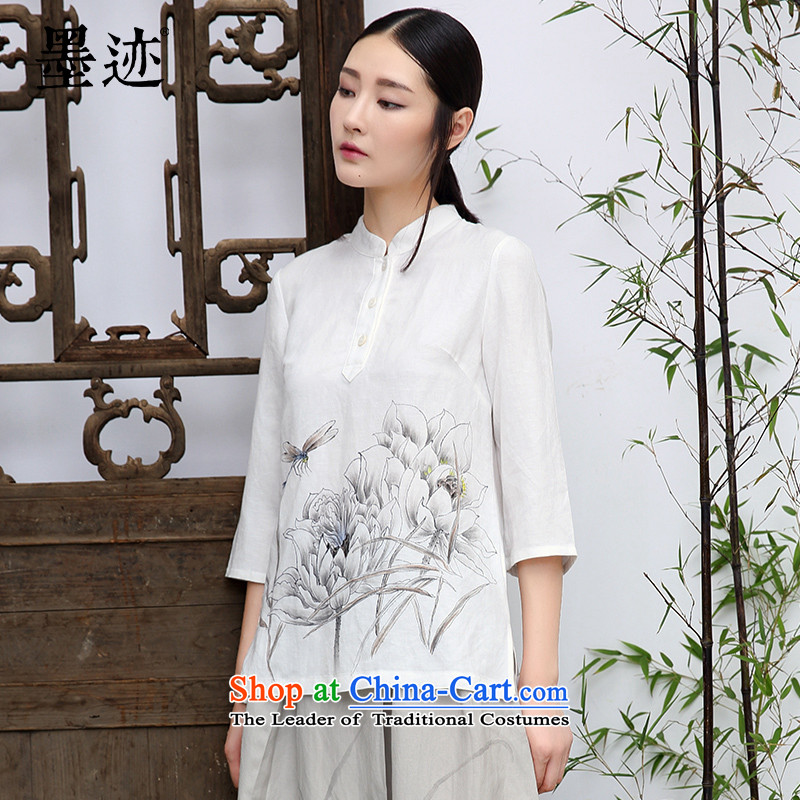 Ink pure linen blouses hand-painted flowers with Han-Tang Ethnic Arts female long-sleeved white�XL