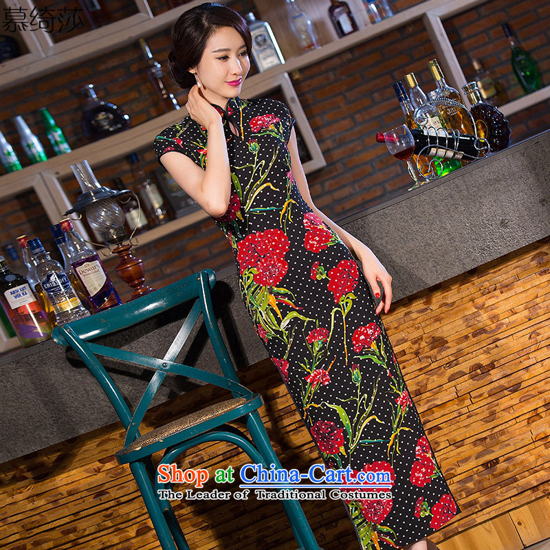 The cross-sa Linjiang sin everyday improvement in new long QIPAO) retro cheongsam dress cheongsam dress suit?Q temperament 259?Suit?M