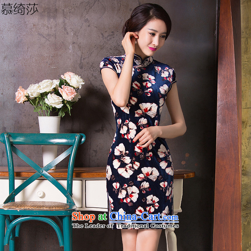 The cross-sa is like a dream for the燼utumn of 2015, with new plush robes skirt improved cheongsam dress Stylish retro cheongsam dress daily燪 264燿ark blue燤