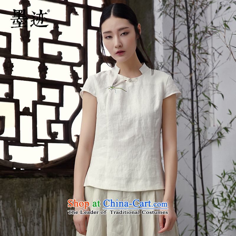 New summer ink hand-painted dragonfly sleeveless shirt female linen T-shirt literary classic retro female Han-m White燲L