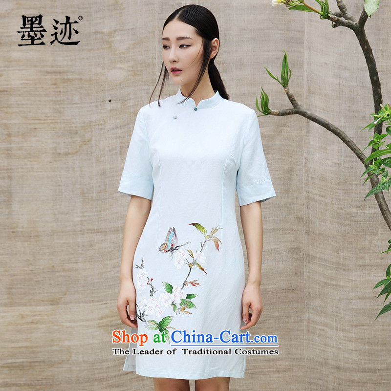 Summer 2015 new ink hand-painted ethnic cotton linen dresses Chinese skirts language arts Han-dresses cyan�M