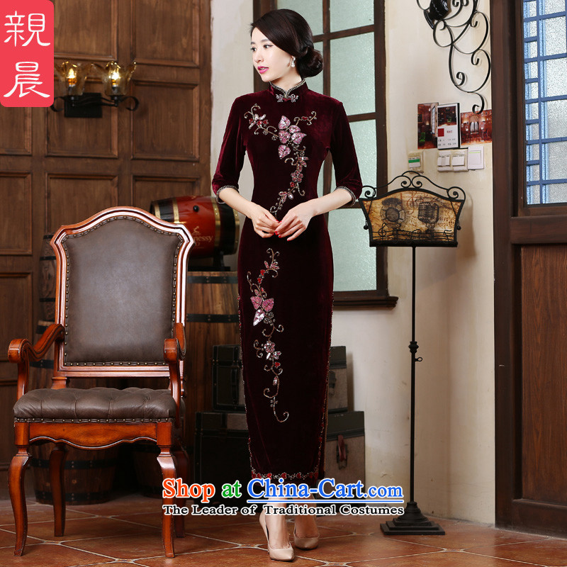Long wedding dress wedding MOM Pack Kim scouring pads cheongsam dress in 2015 new elderly in summer and autumn�L wine red
