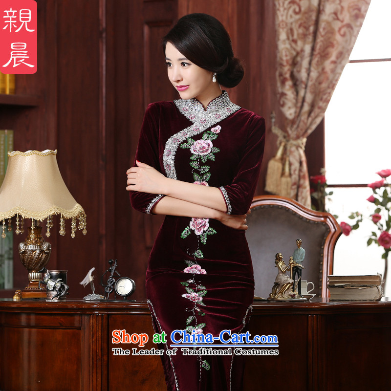 The wedding-dress MOM Pack Kim scouring pads cheongsam dress in older new upscale, long long, the summer and fall of 2015燣