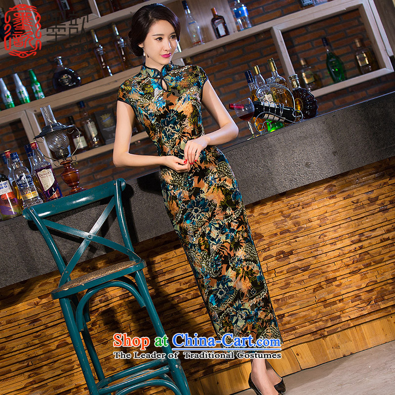 The autumn聽2015 smoke 姝� cheongsam dress autumn new boxed retro style qipao and improvement of cheongsam dress cheongsam dress QD257 picture color聽L