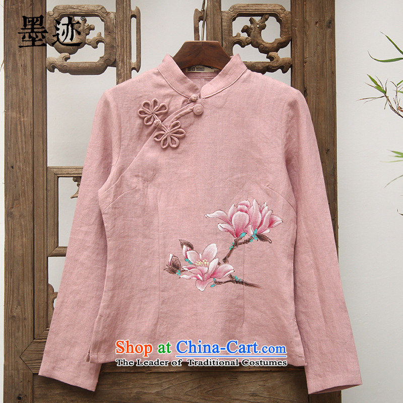 Load new ink autumn hand-painted wood cotton Han-Tang dynasty improved female clothes arts retro female pink�XXL