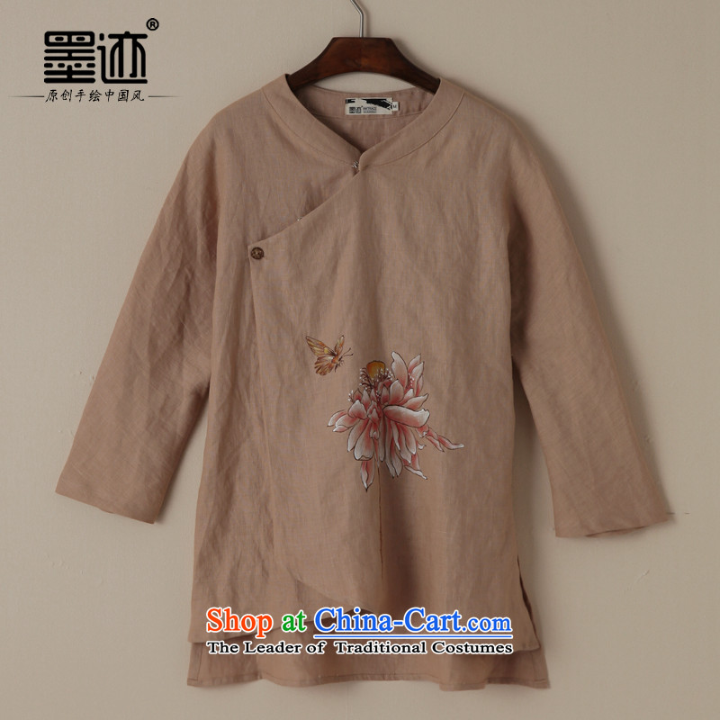 The new summer 2015 ink Tang Dynasty Chinese Han-retro ethnic cotton linen clothes loose brown - pre-sale three days - XL