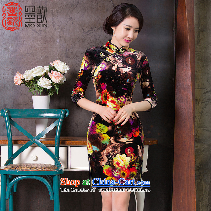 The Jacob Yui�15 ? cheongsam dress the new improved cheongsam dress in autumn cuff retro-cashmere cheongsam dress燪D262 ethnic爌icture color燤