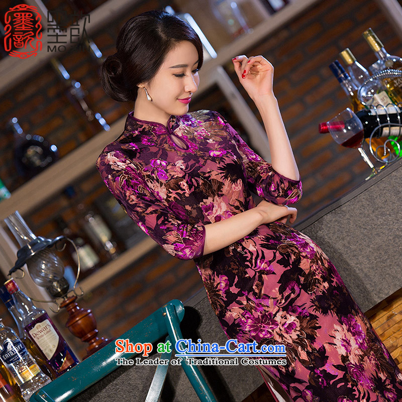 Ink ? Dan Que cheongsam dress new plush 7 long-sleeved qipao gown improvement Stylish retro qipao Sau San cheongsam dress�QD266�picture color�2XL