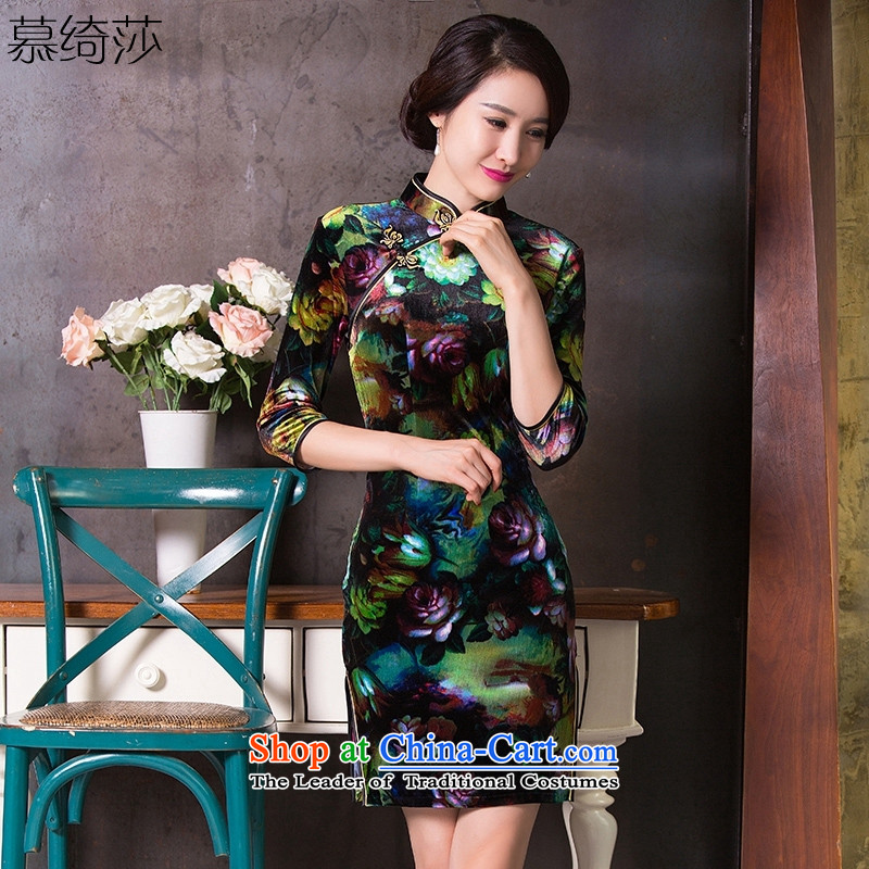 The cheer Windsor Cooling Parsley爄n 2015 long skirt the new improved qipao cheongsam dress cheongsam dress retro look long燪 260 S