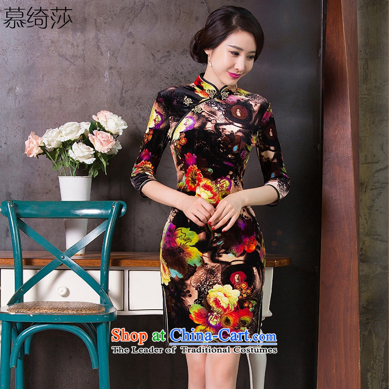 The cross-Sha Chau also cheongsam dress new retro 7 cuff scouring pads daily qipao improvement of ethnic women's stylish cheongsam dress�Q 262�Suit�M
