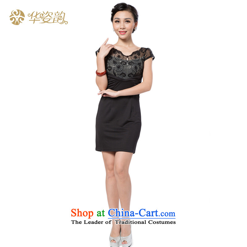 Following the fall of the Chinese position for summer women's Stylish retro graphics thin temperament Sau San Korean Foutune of pure color engraving stamp cheongsam dress lace female skirt dresses dinner dress black�S