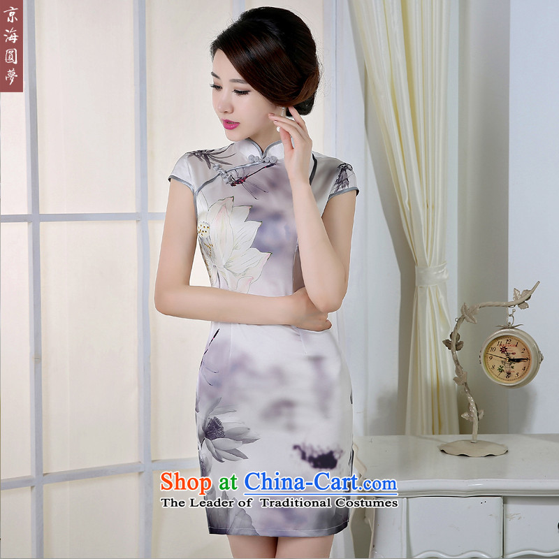 The new 2015 qipao summer retro style qipao skirt daily improved graphics thin short, Sau San dresses, popular Smoke Gray聽M