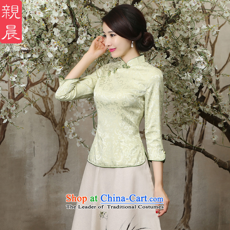 The pro-am new clothes in summer and autumn 2015 cheongsam with improved Chinese Ms. retro-day dresses in cuff single shot of 7 to?10 days-sleeved shirt L-fat