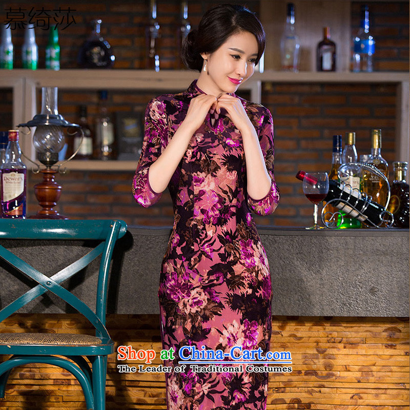 The cross-sa�15 Autumn Load Sophie Pui cheongsam dress new seven-sleeve gray velour robes improved qipao retro long dresses in long燪 266爏uit燣