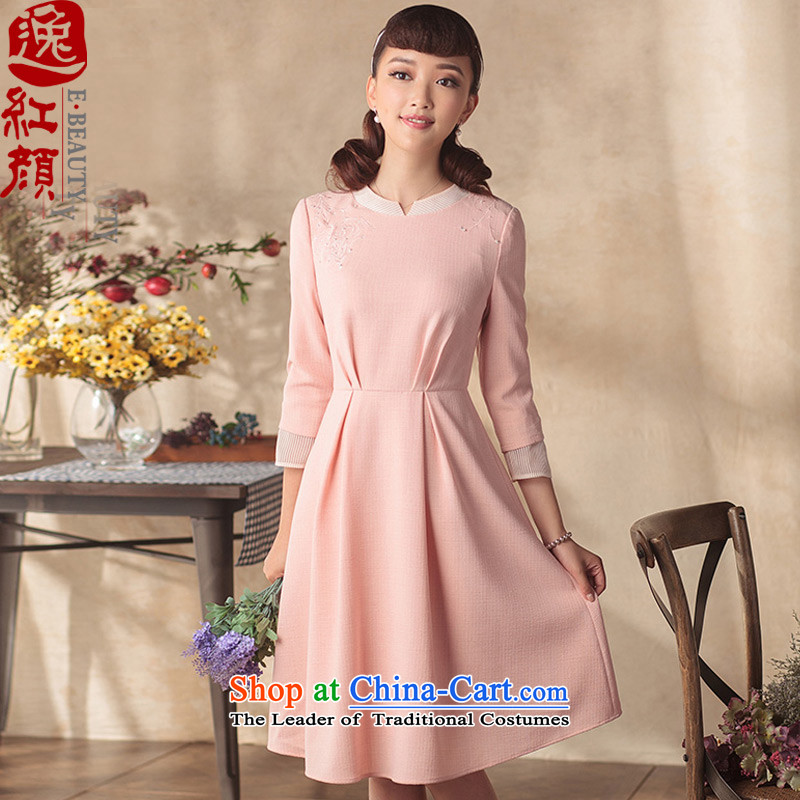Lady Hua Yi Yi dresses in summer 2015 skirt the new national culture and arts female breast embroidery wind dresses pink   XL