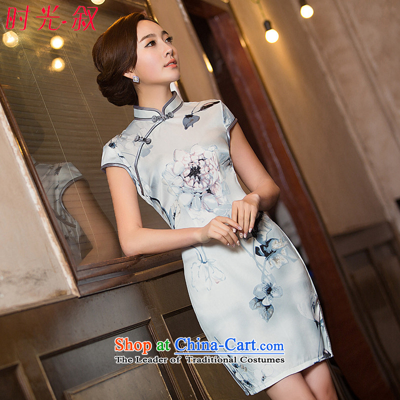 Time Syrian� 2015 Fall_Winter Collections New Ink Painting cheongsam dress short-sleeved retro style China wind cheongsam dress photo color燤