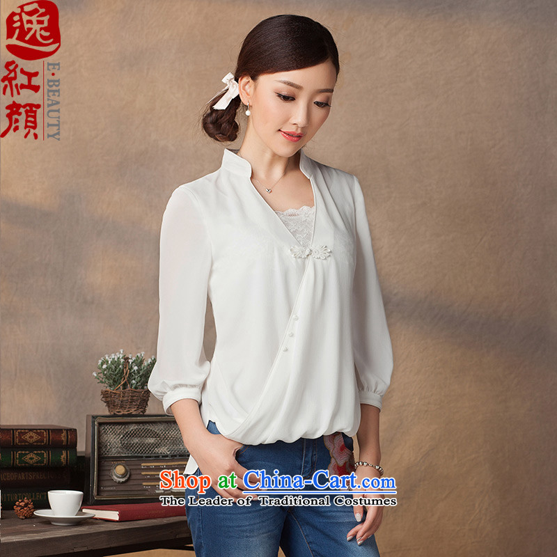 A Pinwheel Without Wind Ching Yi Yi chiffon qipao autumn 2015 T-shirt new retro ethnic wild Sau San Tong Blouses White M