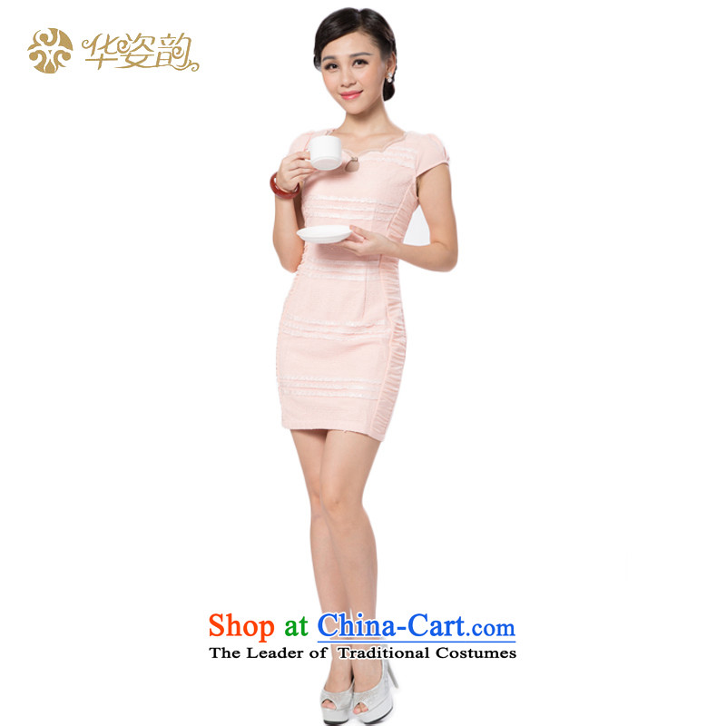 Following the fall of China Gigi Lai Sau San summer cheongsam look stylish chiffon Chinese Contemporary Sau San cheongsam dress video thin dresses improved Tang Gown elegant pink dresses?S