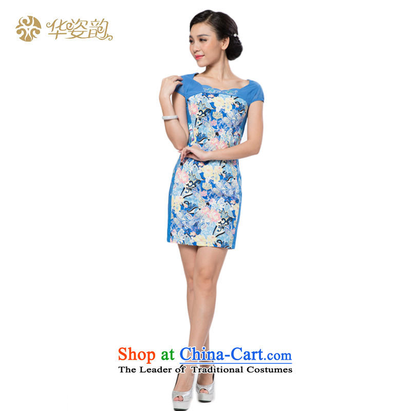 Following the fall of China Beauty short-sleeved flowers improved cheongsam dress Package Figure qipao and summer stylish Sau San Repair short skirts video thin waist dresses stamp dress Chinese Daily Tang dynasty light blue L