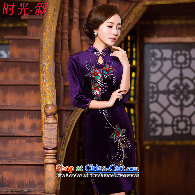 Time Syrian scouring pads qipao skirt elegance. cuffs daily evening long-sleeved Wool Velvet cheongsam Kim scouring pads installed MOM PURPLE聽M